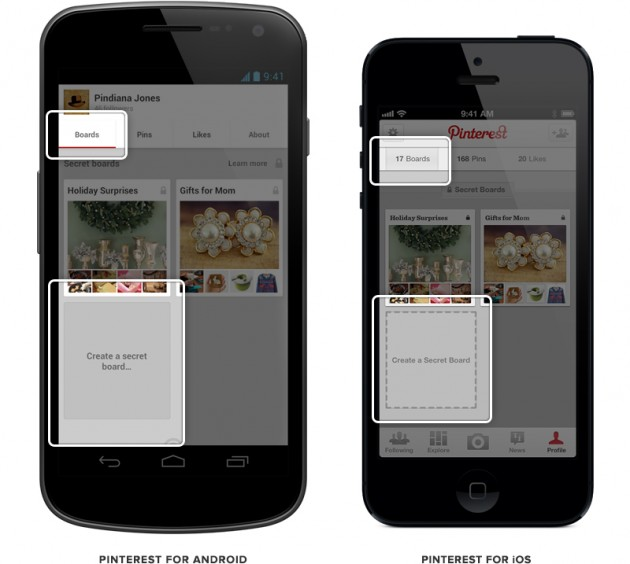 Pinterest Mobile Secret Board