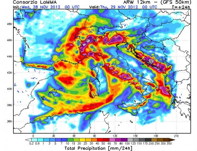 Piogge Mercoledì 28 e Giovedì 29 Novembre 2012