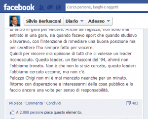 Silvio Berlusconi Facebook Elezioni 2013
