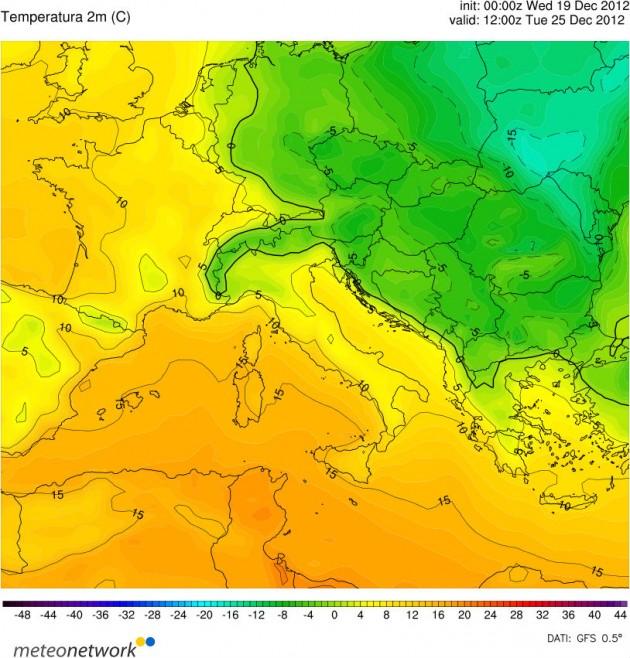 Temperature Previste  Natale 2012