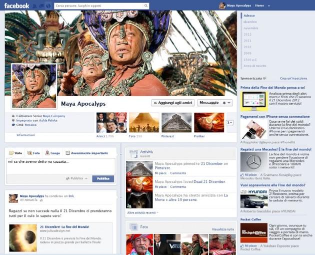 timeline facebook maya fine del mondo 2012