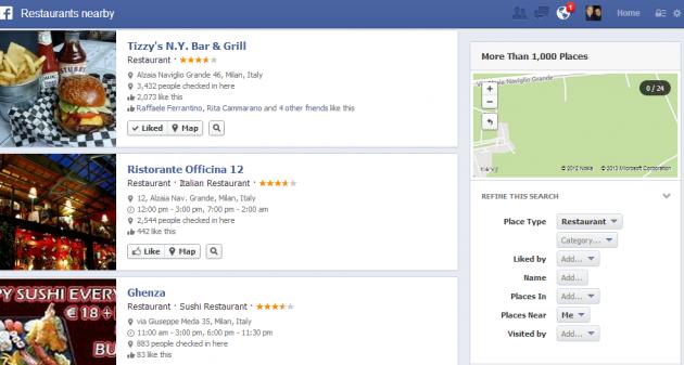 ristoranti su facebook