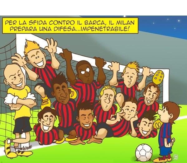 Difesa del Milan con il Barcellona
