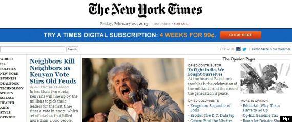 Beppe Grillo sulla prima pagina del New York Times di oggi. Alla vigilia del voto, il mondo ci  guarda