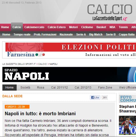 La notizia della morte di Imbriani sul sito della Gazzetta dello Sport