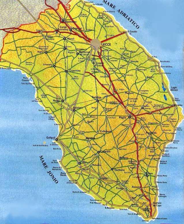 cartina salento mappa