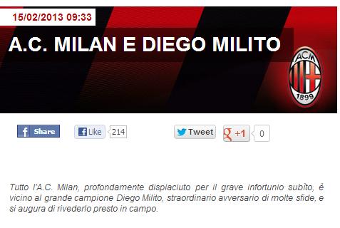 Il comunicato ufficiale apparso sul sito ufficiale del Milan per l'infortunio di Diego Milito