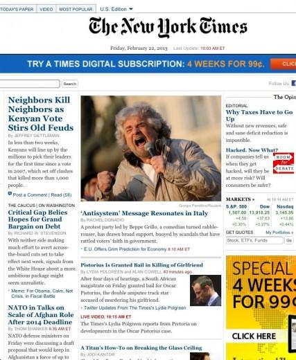 La foto di Beppe Grillo sulla copertina del New York Times di oggi